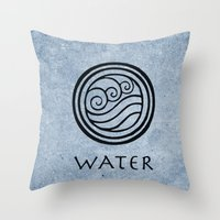 the last airbender Throw Pillows featuring Avatar Last Airbender - Water by bdubzgear