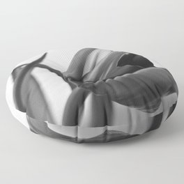 Tulip Blooming In Black And White Floor Pillow