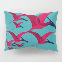 Pterodactyl Flight School Turquoise and Crimson Pillow Sham