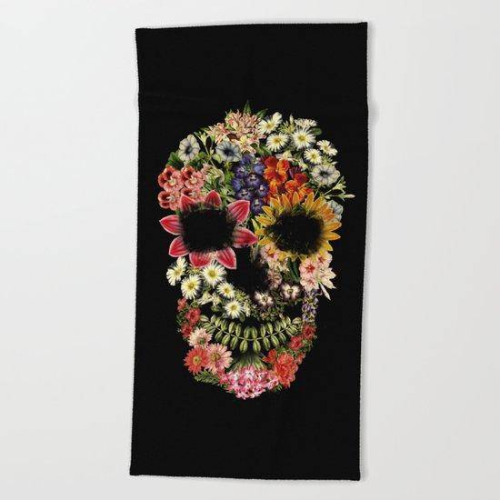 Floral Skull Vintage Black Beach Towel