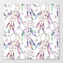 Watercolor Boho Dream Catcher Pattern Canvas Print