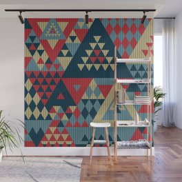 triangles-cream-blue-red-KNIT Wall Mural