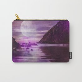 Full Moon over Calm Waters in purple Light Carry-All Pouch