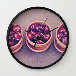 Cherries in Terra Cotta Pots Wall Clock
