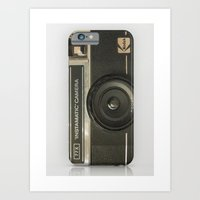 vintage camera Art Prints featuring CAMERA by Monika Strigel