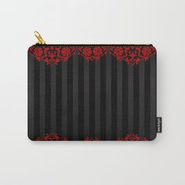 Beautiful Red Damask Lace and Black Stripes Carry-All Pouch