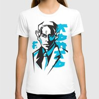 kafka T-shirts featuring Kafka portrait in Blue & Black by aygeartist