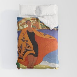 Vintage poster - La Plage de Calvi, La Corse, France Comforters