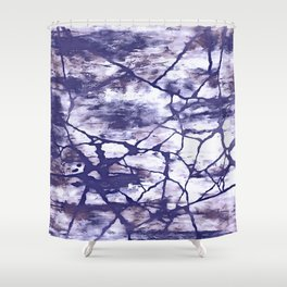 Inkwell Blue Fractures Abstract Expressionism Shower Curtain