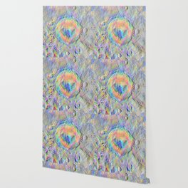 Iridescent Rainbow Moon Surface Wallpaper