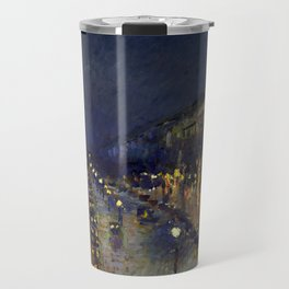 "Camille Pissarro ""The Boulevard Montmartre at Night""(1897) Travel Mug"