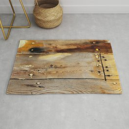 Wooden shipboard with nails and screws Rug