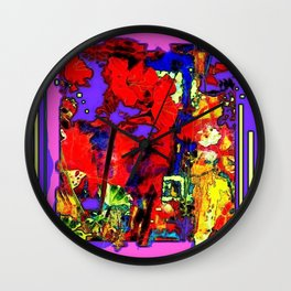 Purple-Red Floral Abstract Wall Clock