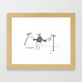 Crow on a Clothesline Framed Art Print