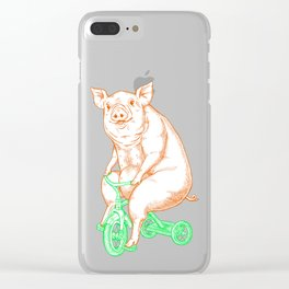 Piggy on a Tricycle Clear iPhone Case