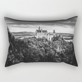 The Castle on the Mountain (Black and White) Rectangular Pillow
