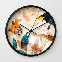 The Raven nad the Fox Wall Clock