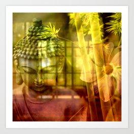Zen & Spiritual Relaxation - Buddha & Bamboo Art Print