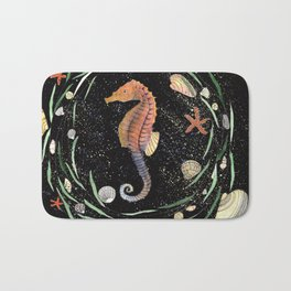 seahorse with nautical wreath and galaxy background Bath Mat