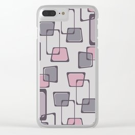 Skewed Squares Midcentury Pattern Mauve Clear iPhone Case