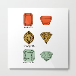 Fancy Jewels Illustration Two Metal Print
