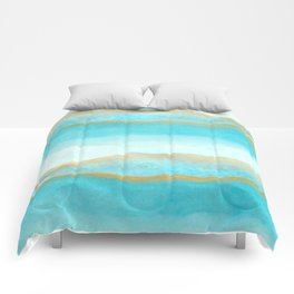 Gold and blue sea Comforters