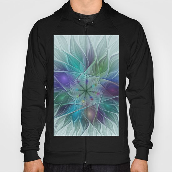 Colorful Fantasy Flower Fractal Art Abstract Hoody