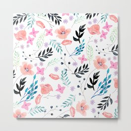 Sweet Floral Watercolor Metal Print