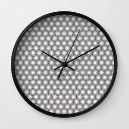 White Polka Dots and Circles Pattern on Pantone Pewter Gray Wall Clock