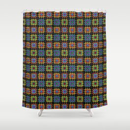 Granny Squares Retro Crochet Afghan Blanket Shower Curtain