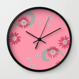 Floral Scroll Design - Strawberry Red Wall Clock