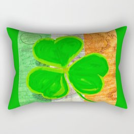 Classic Irish Shamrock - Vintage Collage Art Rectangular Pillow