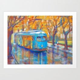 Blue Tram Art Print