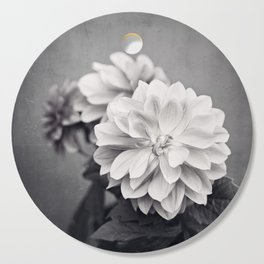 Black and White Dahlia Flower Photography, Grey Floral, Gray Neutral Nature Petals Cutting Board