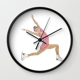 Girl in pink dress. Figure skater Wall Clock