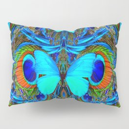ELECTRIC NEON BLUE BUTTERFLIES & BLUE PEACOCK FEATHERS Pillow Sham