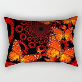 Awesome Decorative Monarch Butterflies on Black Rectangular Pillow