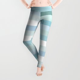 Color Block Stripe in Mint Blue Leggings