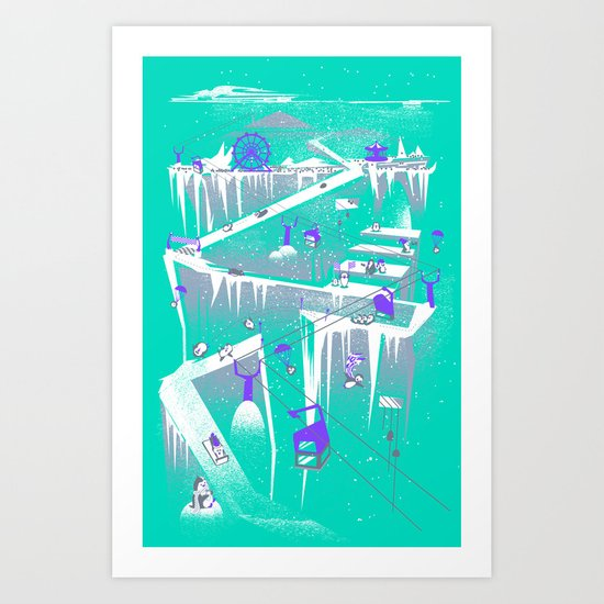 Penguins (flat, palette swap) Art Print