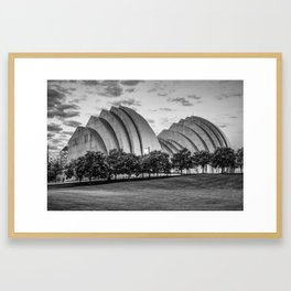 Kauffman Center at Dawn in Black and White - Downtown Kansas City Missouri Framed Art Print