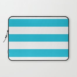 Caribbean blue - solid color - white stripes pattern Laptop Sleeve