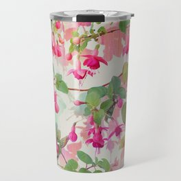 Rainbow Fuchsia Floral Pattern Travel Mug