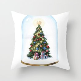 New-year decorated Christmas tree under a glass cap. Throw Pillow