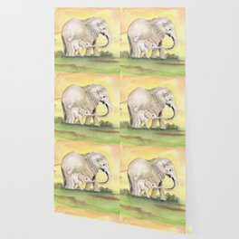 Colorful Mom and Baby Elephant 2 Wallpaper