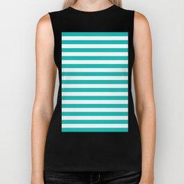 Horizontal Stripes (Tiffany Blue/White) Biker Tank