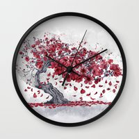 cherry blossom Wall Clocks featuring Cherry blossom by Marine Loup