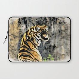 Tiger roar Woodblock Style Laptop Sleeve