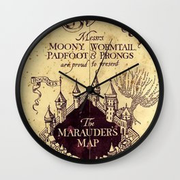 Map Harrypotter castle, The Marauders Map Wall Clock