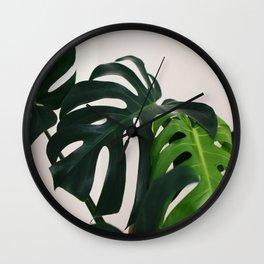 Minimalist Mid Century Scandinavian Style House Plant Mostera Green Leaf Zen Photo Wall Clock