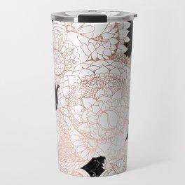 Modern rose gold floral mandala chic marble Travel Mug